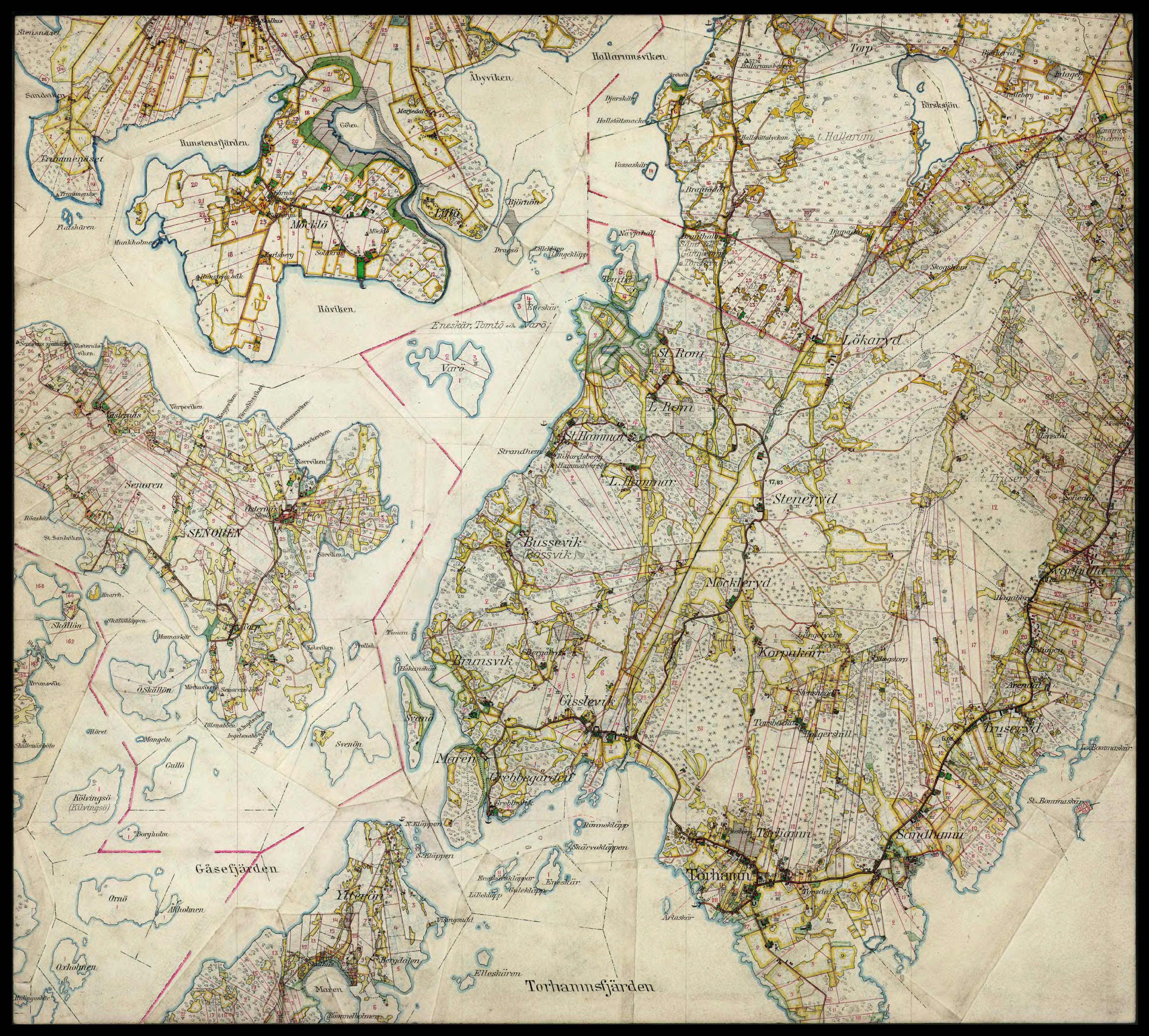 Ekonomisk Karta Blekinge.Blekinge Medelstads Harad Nattraby Socken